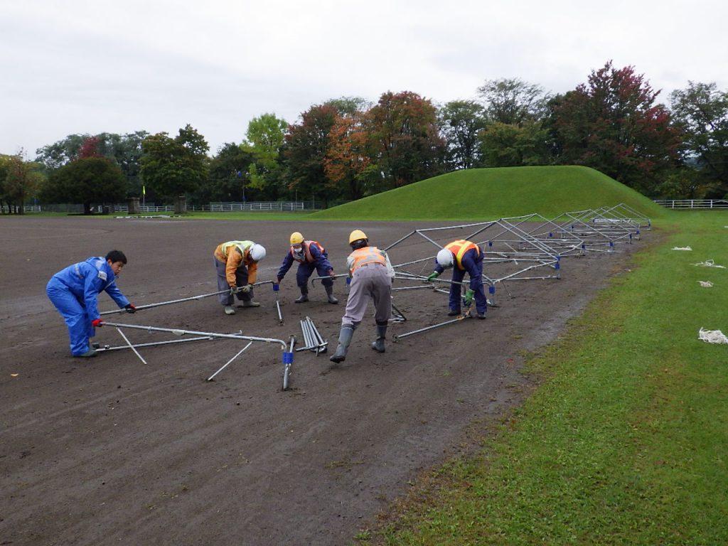 つべつ紅葉マラソン大会に係る案内看板設置作業